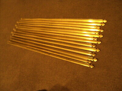 Set Of 17  Vintage Brass   Stair Rods And  Original  Brackets