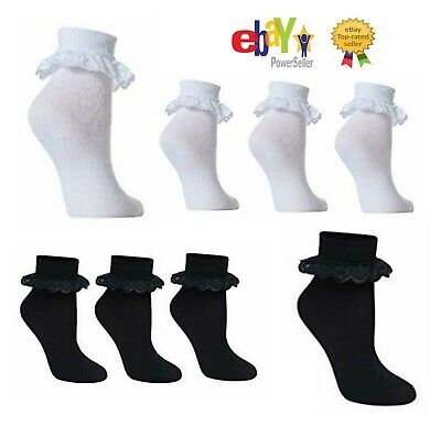 12 & 6 Pack School Girls Lace Socks Frilly Ankle Socks Cotton Polyester Material