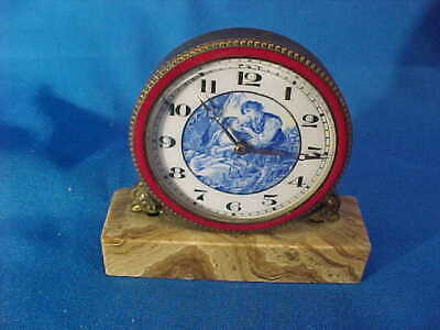 19thc MINIATURE CLOCK Porcelain Dial w COURTING COUPLE Onyx Base Not Running
