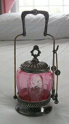 Victorian Silver Plated Pickle Castor w/ Cranberry Glass Insert, West Silver Co.