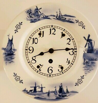 Antique 1920's Delft Porcelain Windmill Windup Kitchen Wall Clock Berger Germany