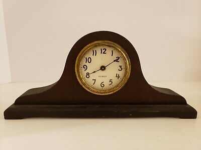 Antique 1920's GILBERT Mini Mahogany Tambour Mantel Shelf Clock USA