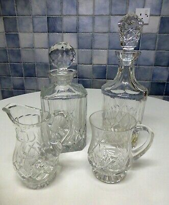 Cut Glass Whisky & Sherry Decanters, Water Jug & Tankard