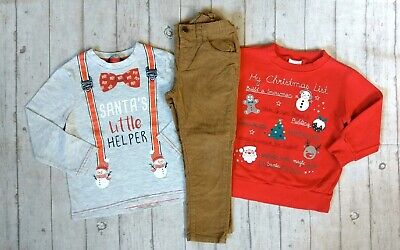 3 4 Years Xmas Jumper Tops Skinny Trousers Boys Trendy Winter Clothes Bundle