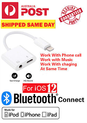 For Apple iPhone 7 8 Plus X XS Bluetooth 2in1 Dual Adapter 3.5mm Jack+Lightning