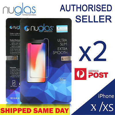 2X Genuine NUGLAS Tempered Glass Screen Protector For iPhone 11/11 Pro X XS MAX
