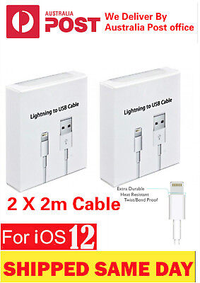 2 x 2M Lightning Date Charger Cable Cord For Genuine Apple iPhone 5 C 6s 7 Plus