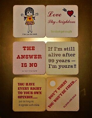 Set of 6 Novelty Humorous Funny Beer Wine or Drink COASTERS ~#1~