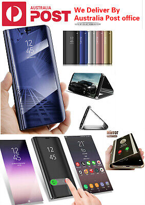 For Samsung Galaxy S9/S8/S10 Note10 Plus 8/9 Smart Mirror View Flip Case Stand