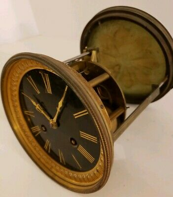 Antique 1800's E.M. French Round Brass Mechanical Time & Strike Clock Movement