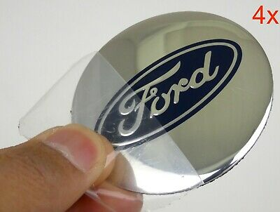 """(4 PACK) FORD Wheel Center Hub Cap Sticker Decal 2.20"""" DOME SHAPE (SILVER)"""