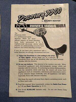 Bounty Hunter Discovery 3300 Metal Detector Replacement Operators Users Manual