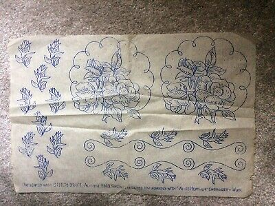Roses embroidery transfer floral Stitch Craft 1940 Needle Craft Embroidery