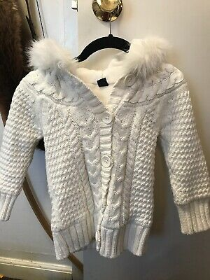 Baby Gap Girls Fleece Lined Ivory Sweater Size 4 With Faux Fur Hood
