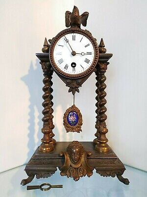 Antique French Empire Architectural style Chesnier Paris bronze Mantel Clock