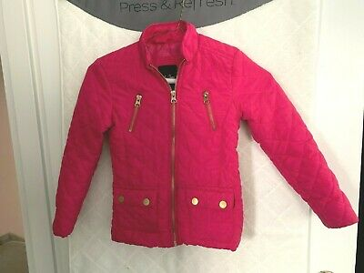 Me Jane girl's bright pink poly quilted snow jacket  5