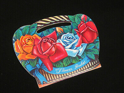 old sewing NEEDLE CARD vintage SEWING Flower Basket Needle Book red ROSES