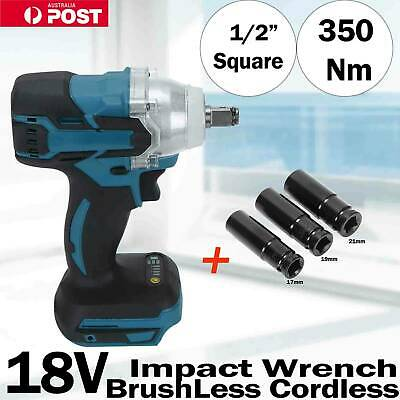 "350N 1/2"" Square Drive Lithium-Ion Cordless Impact Wrench Rattle Gun w/ 3 Socket"