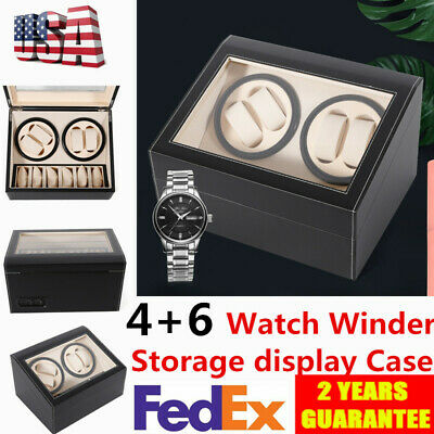 Luxury 4+6 Automatic Rotation Leather Watch Winder Storage display Case black US