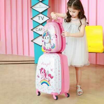 """12"""" Backpack and 16"""" Rolling Suitcase Kids Luggage Set For Children Girls Travel"""