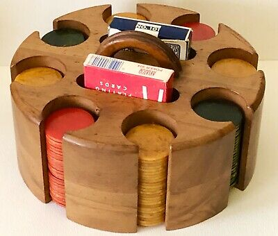 Antique BAKELITE CATALIN POKER CHIPS 196 in WOOD CADDY HOLDER RED GREEN YELLOW