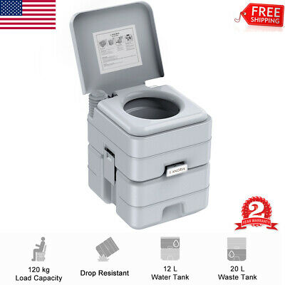 5.3 Gallon 20L Portable Toilet Flush Travel Camping Commode Potty Outdoor Party