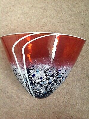 hand blown British art glass Vase by martin Andrews red beach series.