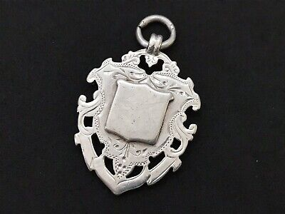Antique Victorian Sterling Silver Fob Pendant, Double Sided Heavy, 1899