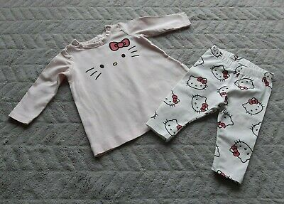 H&M Baby Girls 1-2 Months Kids Hello Kitty Pink Long Sleeve Top Leggings Outfit