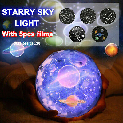 5 In 1 Night Star Sky Projector LED Light Lamp Rotating Starry Xmas Baby Bedroom