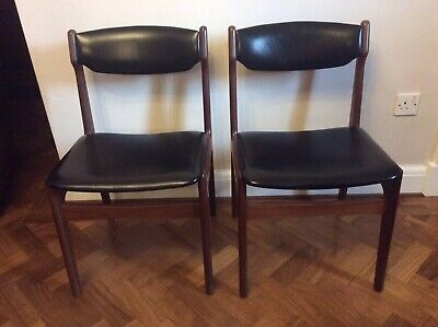 Six Mid Century G Plan Teak/Black Leatherette Dining Chairs Exc. Used Condition