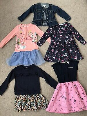 Girls Bundle 4 Dresses And Denim Jacket Age 5-6 Joules Monsoon Next Bluezoo Debs