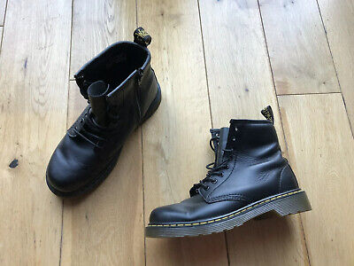 Dr Martens Delaney Soft Black Leather Zip Up And Lace Winter Boots Size 2uk