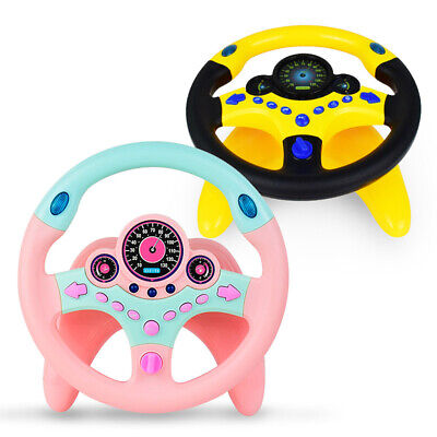 2 × Kids Toy Car Simulation Steering Wheel + LED Turn Light and Alarm Button
