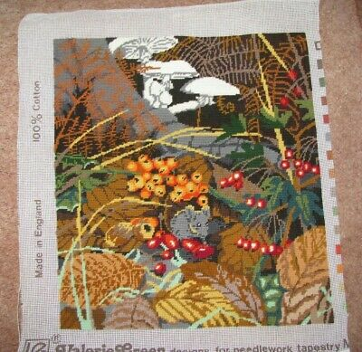 Autumn Woodland Tapestry Scene, completed canvas - designed by Valerie Green