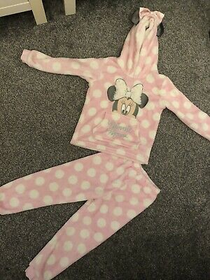 Girls Mini Mouse Pink And White Soft Fluffy Pyjamas Age 6-7