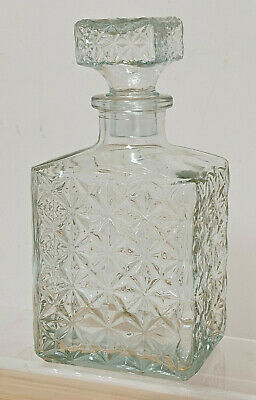 Vintage Retro Cur Glass Whiskey Gin Brandy Decanter Bottle + Stopper - 8 Inches