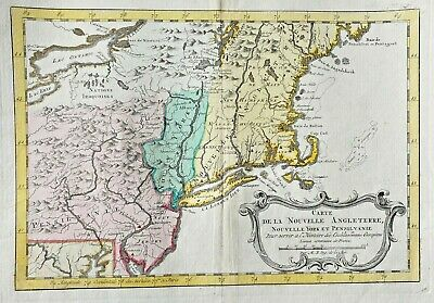 1757 New York America Usa New England Original Copperplated Map Bellin Colored