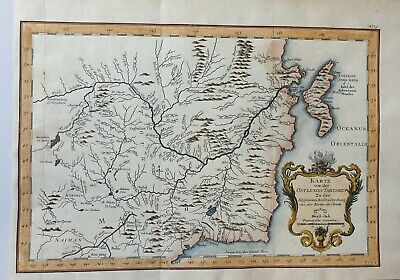 1753 Tartary China Russia Mongolia Original Copperplated Map Bellin Colored