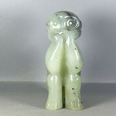 Chinese old natural jade hand-carved jade Monkey statue pendant XO499