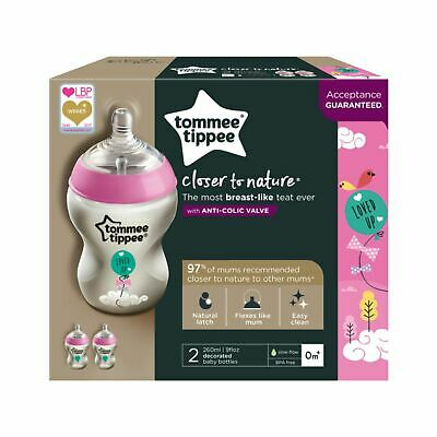 Tommee Tippee 2 9 oz. Slow Flow Pink Loved Up Decorated Baby Bottles BPA Free