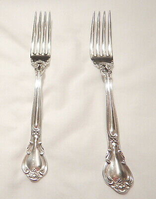 2 Chantilly Sterling Silver Luncheon Forks-Fine 1895 Gorham-Table Ready