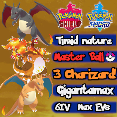 Pokemon Sword Shield / 3 Charizard Bundle Dynamax Gigantamax Shiny / 6IV Max EVs