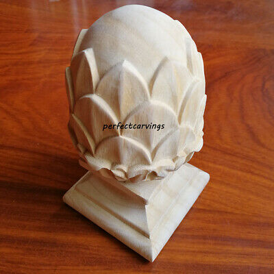 2x FIN-PS03X05FCBH Traditional Pineapple Carved Newel Post Finial