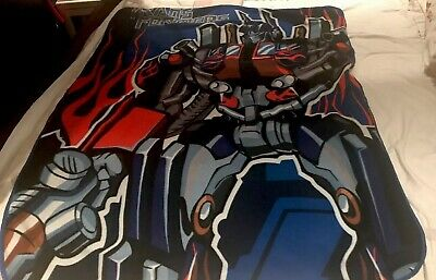 Fleece Blanket Single Bed Throw Transformers Optimus Prime Autobots Blue Red.