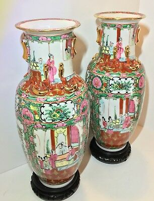 Antique Chinese Famille Rose Canton Medallion Hu Form Dragon Vase Pair