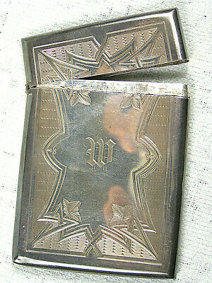 Dated 1871 Birmingham English Sterling Silver Engraved Calling Card Case & Box