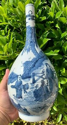 Estate Collection Chinese Antique Blue and White Porcelain Vase with Marked