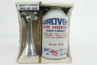 Vintage Grover Mighty Midget Air Horn Signal Boat Marine Canister Rare NOS