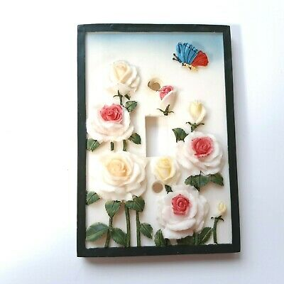 Switchplate Ceramic Flowers Butterfly 3D Single Wall Cover Decor Switch Toggle